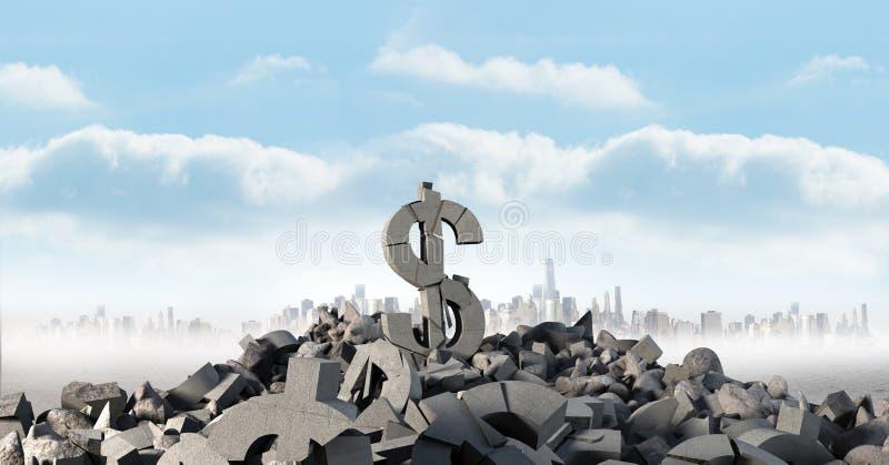 Pedra concreta quebrada com símbolo do dólar do dinheiro na arquitetura da cidade imagens de stock royalty free