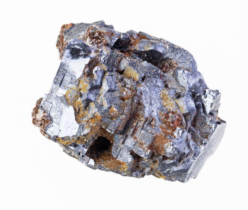 pedra cristalina áspera do galeno no branco imagens de stock