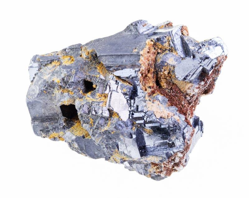 pedra cristalina crua do galeno no branco fotografia de stock