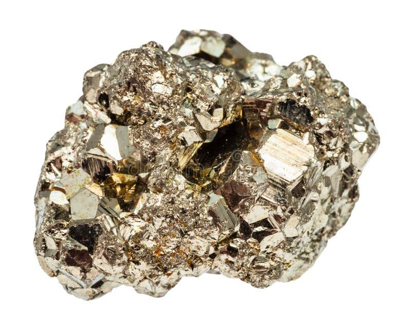 Pedra cristalina da pirite de ferro isolada fotos de stock royalty free