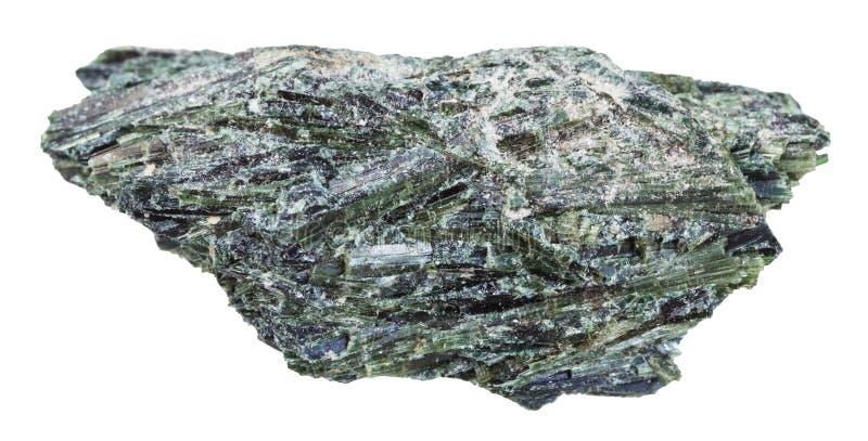 Pedra crua do Actinolite isolada no branco imagens de stock royalty free