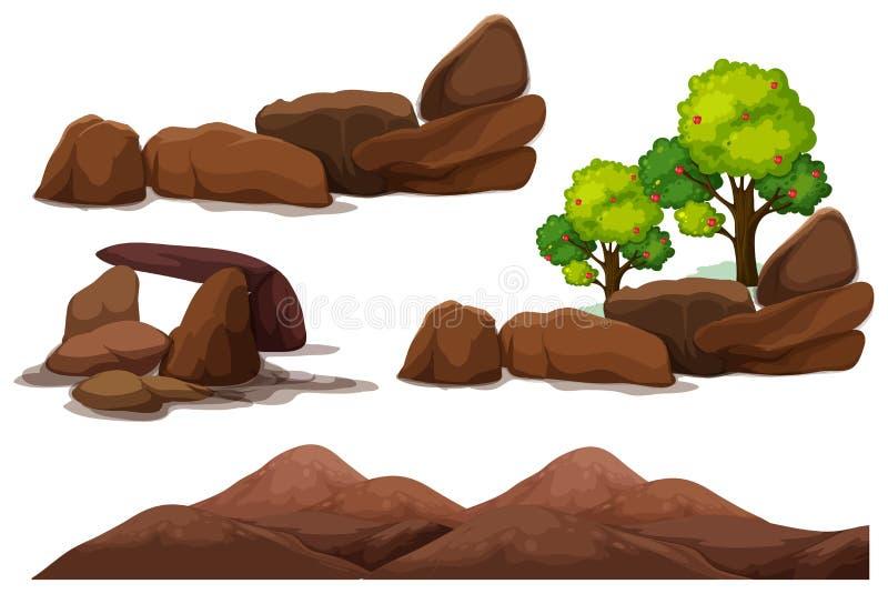 Pedra da rocha e elemento da montanha ilustração royalty free