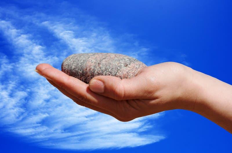Pedra Da Terra Arrendada Da Mão Foto de Stock