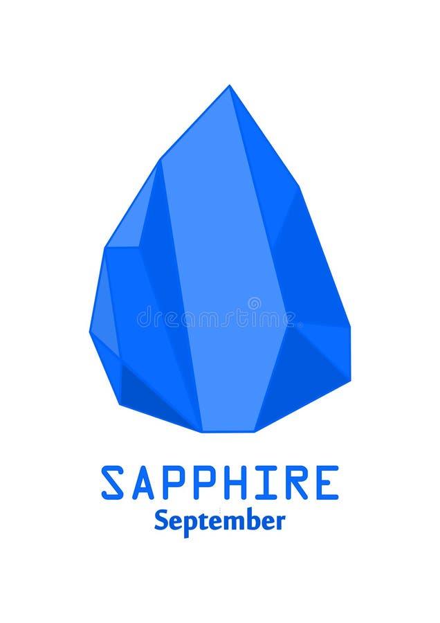 Pedra de gema azul da safira, cristal dos azuis marinhos, gemas e vetor de cristal mineral, pedra preciosa do birthstone de janei ilustração royalty free