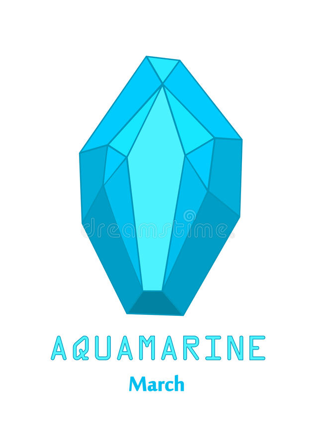 Pedra de gema azul de água-marinha, cristal azul, gemas e vetor de cristal mineral, pedra preciosa do birthstone de março ilustração stock