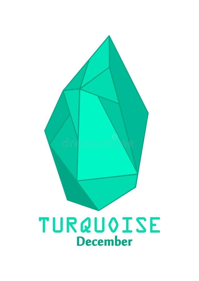Pedra de gema azul de turquesa, cristal azul, gemas e vetor de cristal mineral, pedra preciosa do birthstone de dezembro ilustração royalty free
