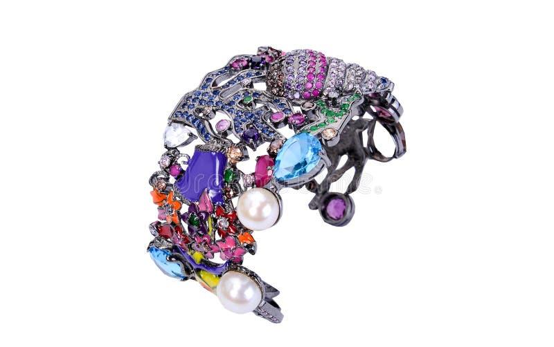 Pedra de gema e bracelete da joia isolado no branco imagem de stock royalty free