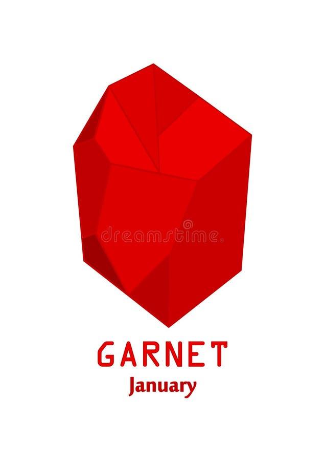 Pedra de gema vermelha da grandada, cristal vermelho, gemas e vetor de cristal mineral, pedra preciosa do birthstone de janeiro ilustração royalty free