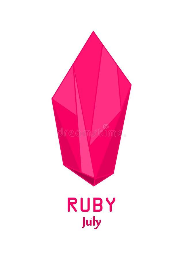 Pedra de gema vermelha do rubi, cristal vermelho, gemas e vetor de cristal mineral, pedra preciosa do birthstone de julho ilustração royalty free