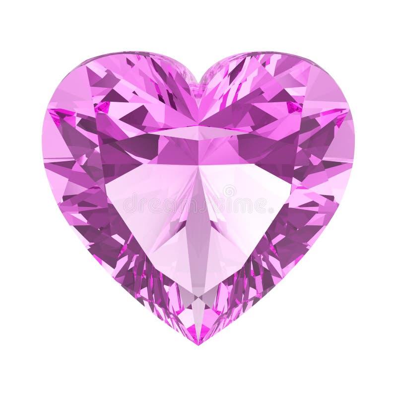 pedra do coração do diamante do rosa da ilustração 3D ilustração stock
