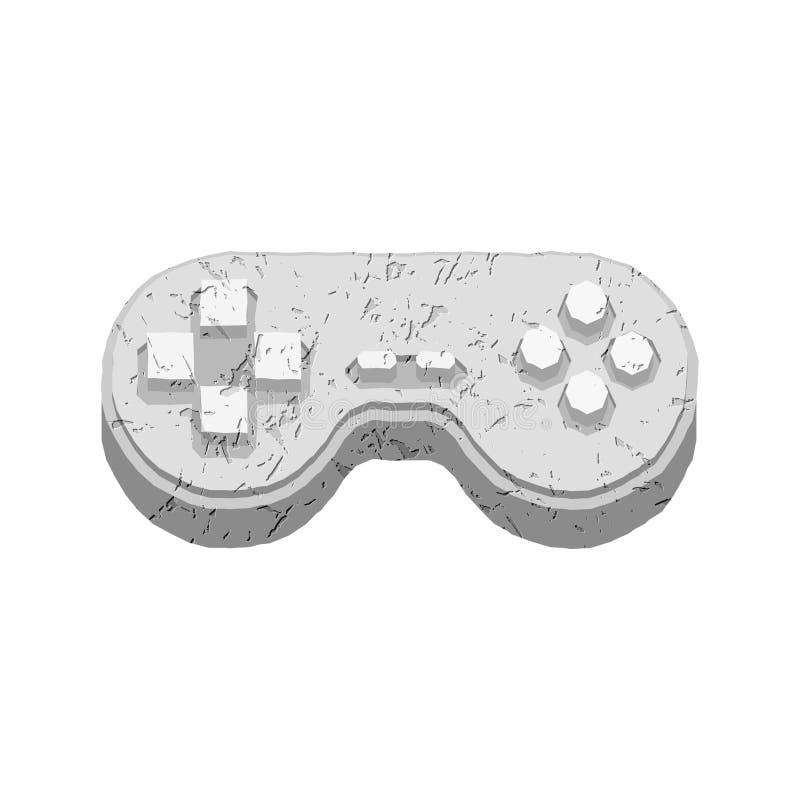 Pedra do manche pré-histórica Gamepad antigo Jogo video velho Manipulador do videogame do granito ilustração do vetor