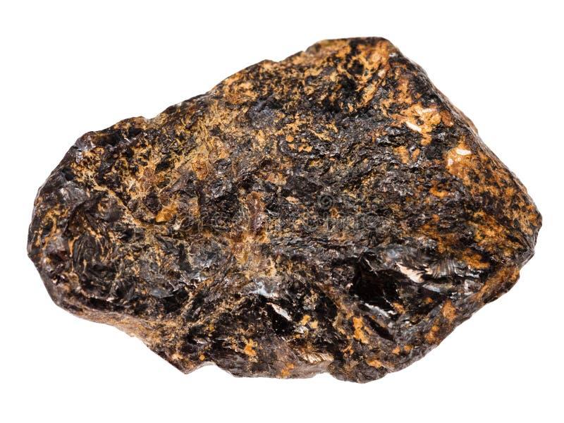 Pedra do minério da lata do Cassiterite isolada no branco foto de stock