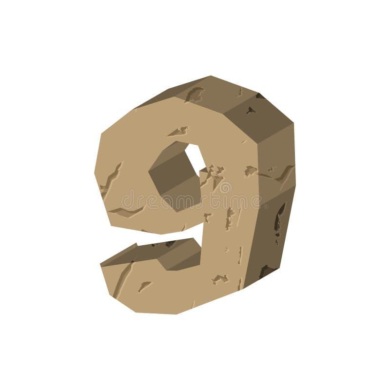 Pedra do número 9 Fonte nove da rocha Apedreja o símbolo do alfabeto c rochoso ilustração royalty free