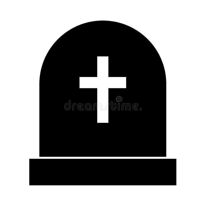 Pedra do túmulo é ícone preto ilustração do vetor