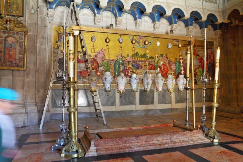 Pedra do Unction - o santuário cristão o mais velho fotografia de stock
