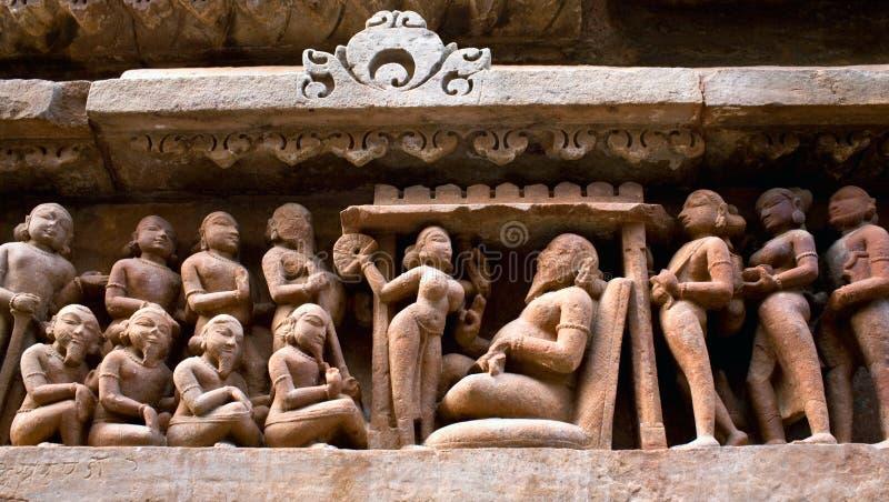 Pedra indiana cinzelada em Khajuraho fotografia de stock