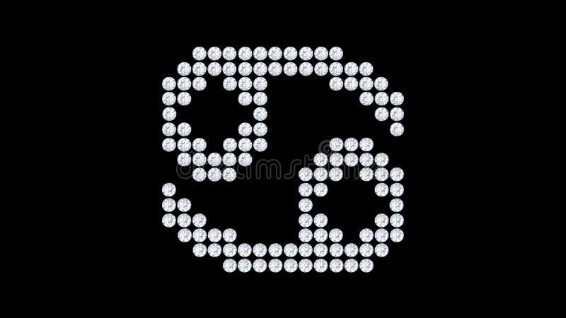 pedra isolada ilustração do diamante do zodíaco do câncer 3D ilustração stock