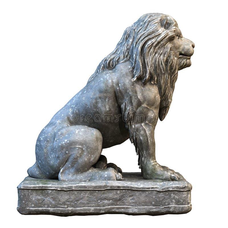 Pedra isolada na rendição branca da ilustração da escultura 3d do leão ilustração stock