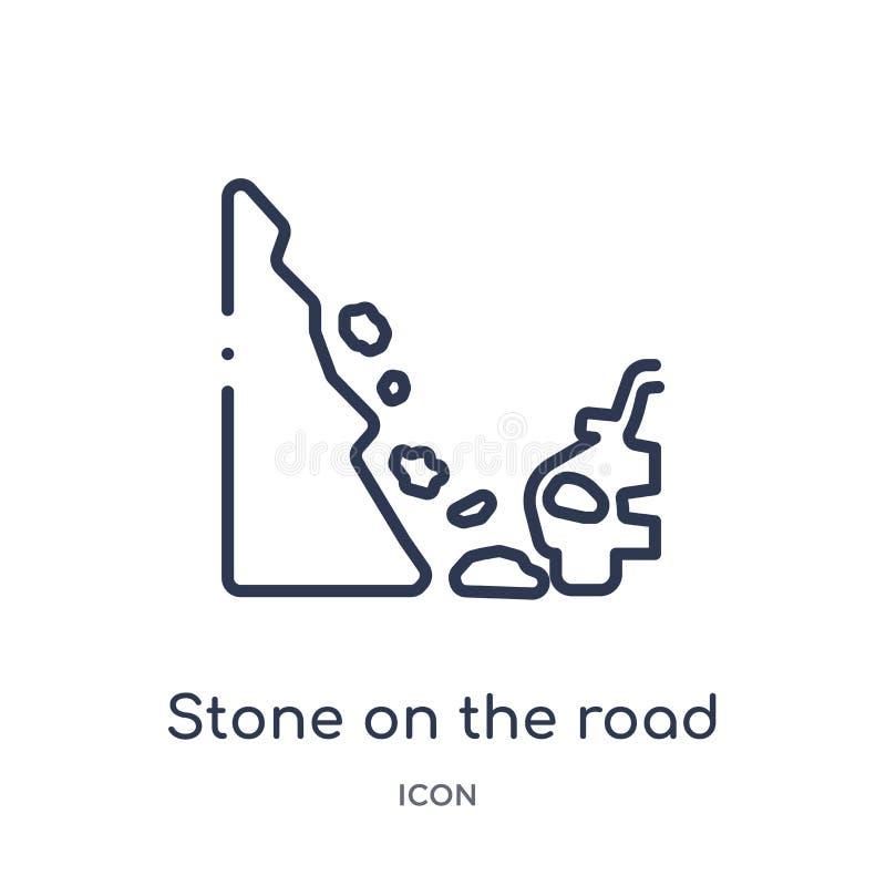 Pedra linear no ícone da estrada da coleção do esboço do seguro Linha fina pedra no ícone da estrada isolado no fundo branco ilustração royalty free