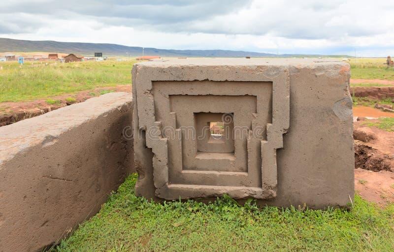 Pedra megalítica em Bolívia imagens de stock royalty free