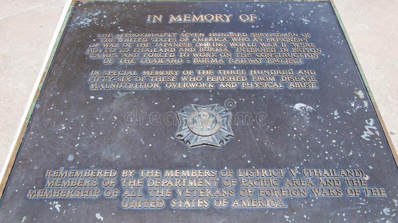 Pedra memorável na memória dos prisioneiros da guerra que perderam suas vidas durante a construção fotografia de stock royalty free