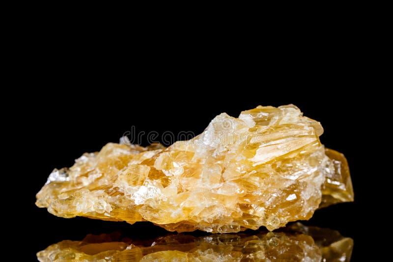 Pedra mineral da calcite crua do mel na frente do fundo preto fotos de stock royalty free