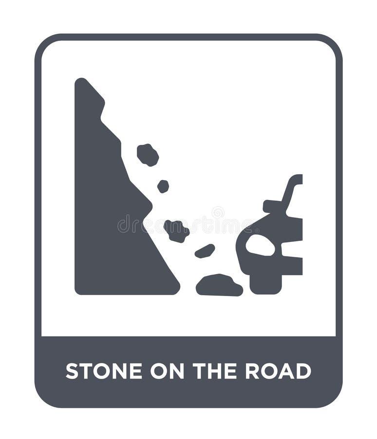 pedra no ícone da estrada no estilo na moda do projeto pedra no ícone da estrada isolado no fundo branco pedra no ícone do vetor  ilustração stock