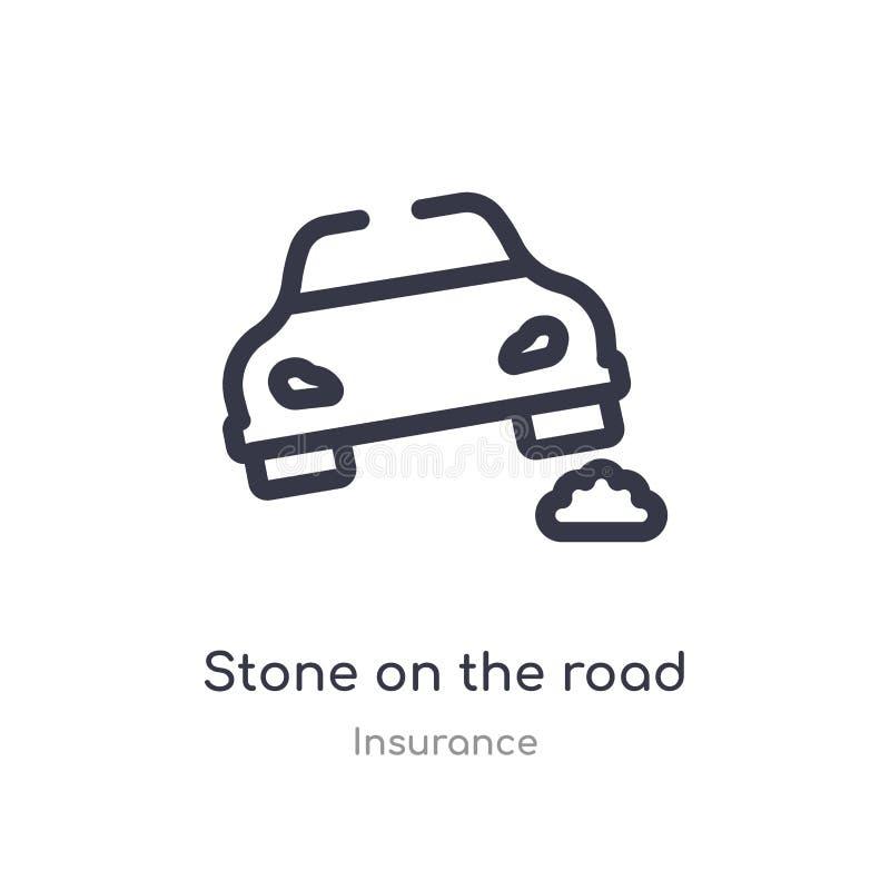 pedra no ícone do esboço da estrada linha isolada ilustra??o do vetor da cole??o do seguro pedra fina editável do curso no ilustração do vetor