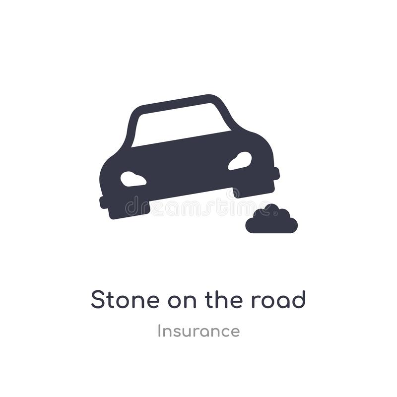 Pedra no ?cone da estrada pedra isolada na ilustração do vetor do ícone da estrada da coleção do seguro edit?vel cante o s?mbolo  ilustração do vetor