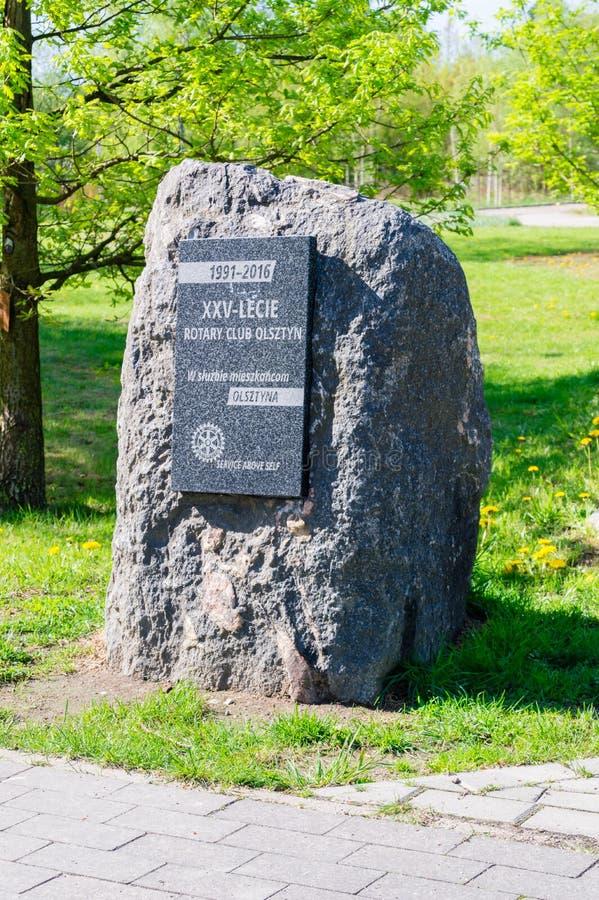 Pedra para um aniversário de 25 anos do clube giratório Olsztyn no Polônia imagem de stock royalty free
