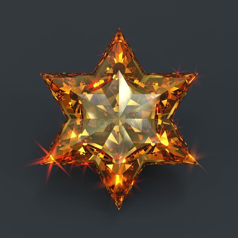Pedra preciosa aguçado da forma da estrela do âmbar seis ilustração do vetor