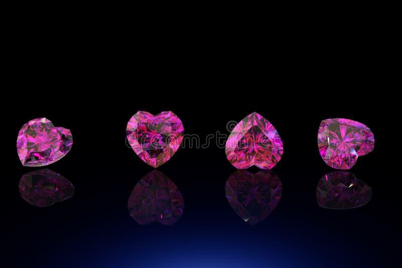Pedra preciosa da forma do coração Coleções de gemas da jóia foto de stock