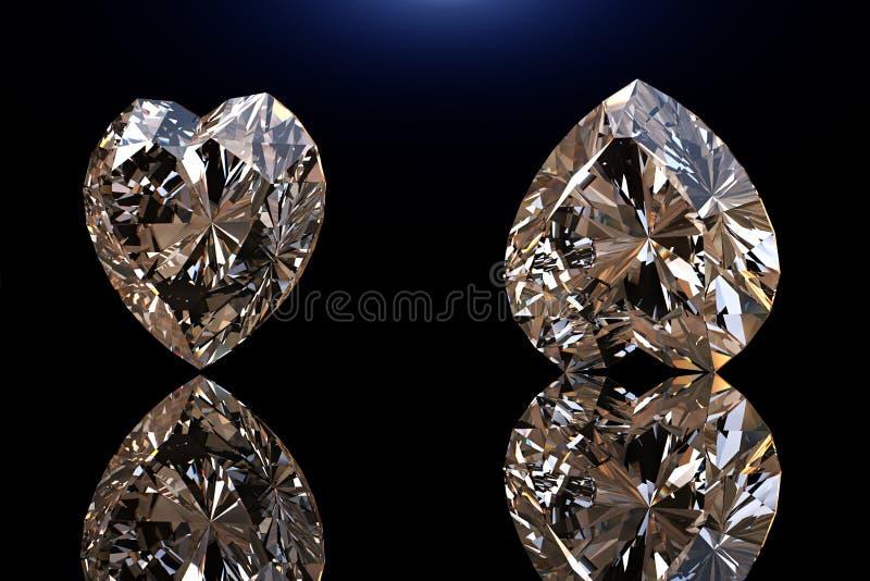 Pedra preciosa da forma do coração Coleções de gemas da jóia no preto imagens de stock royalty free