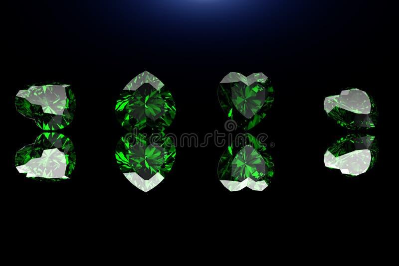 Pedra preciosa da forma do coração Coleções de gemas da jóia no preto Emer imagem de stock royalty free