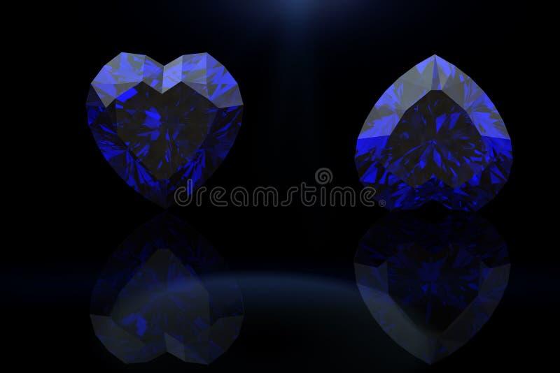Pedra preciosa da forma do coração Coleções de gemas da jóia sapp ilustração do vetor