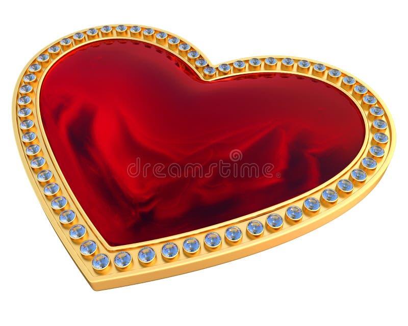 Pedra preciosa do coração no ouro e nos diamantes ilustração do vetor