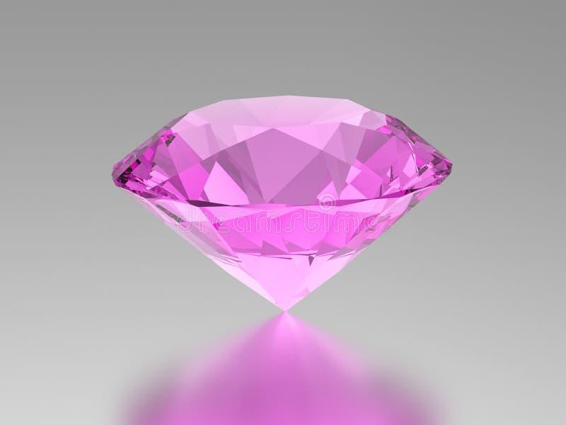 pedra preciosa do diamante do rosa da ilustração 3D com reflexão ilustração stock