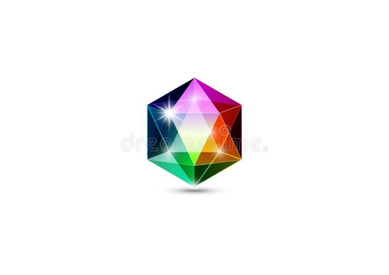 Pedra preciosa, joias coloridas do logotipo e cristais, isolados ilustração do vetor
