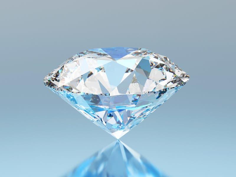 a pedra preciosa redonda esmeralda azul do diamante da ilustração 3D com reflete ilustração do vetor