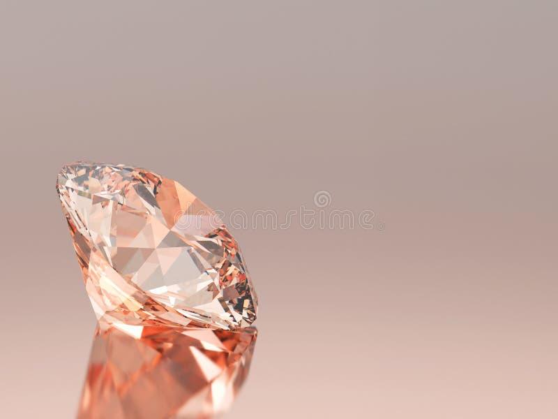 pedra preciosa redonda esmeralda vermelha do diamante da ilustração 3D com reflecti ilustração stock