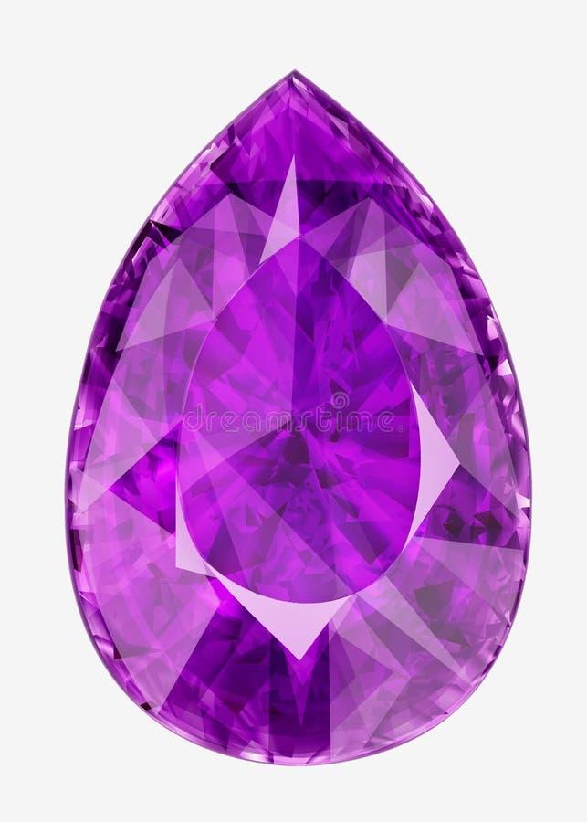 Pedra preciosa roxa isolada Ilustração da pedra lapidada no f ilustração do vetor