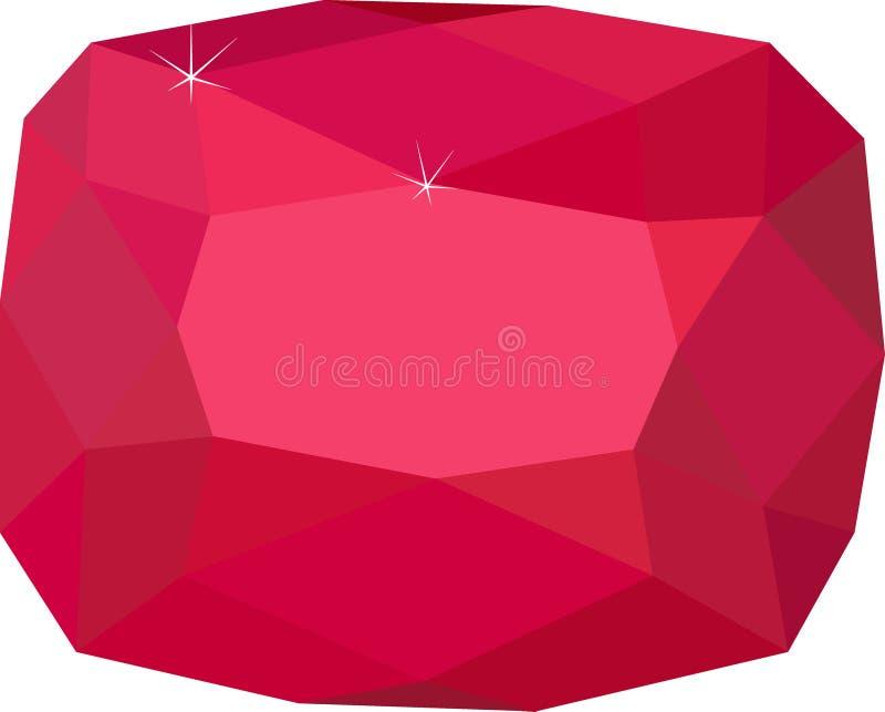 Pedra preciosa Spinel vermelha natural no fundo branco ilustração do vetor
