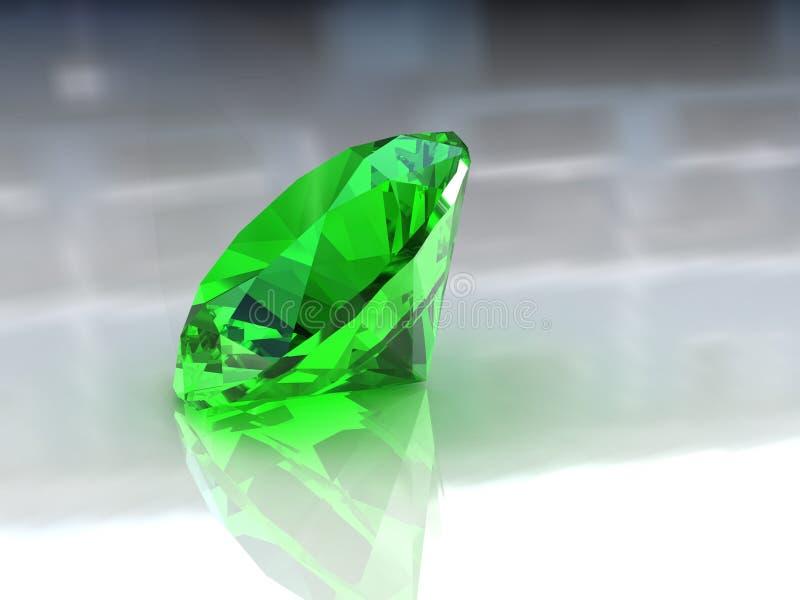 Pedra redonda adorável da esmeralda ilustração royalty free