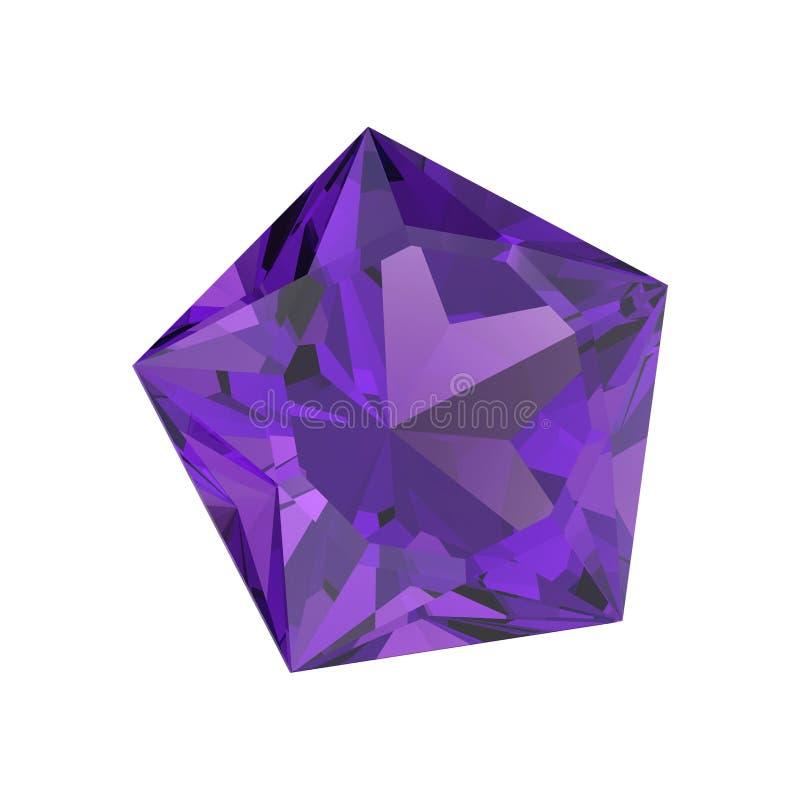 pedra roxa isolada ilustração do diamante do pentagon 3D ilustração do vetor