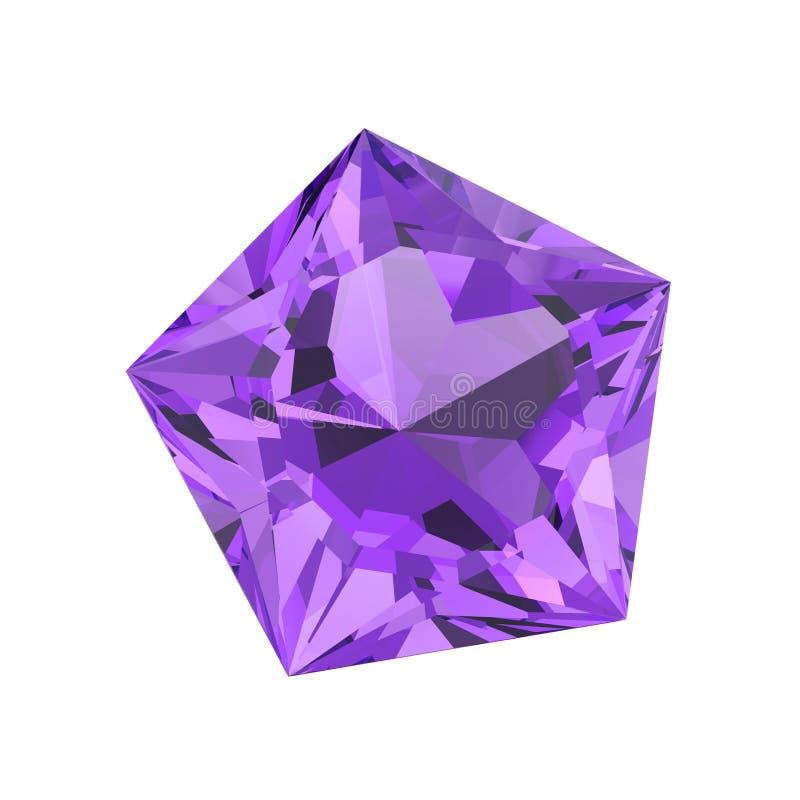 pedra roxa isolada ilustração do diamante do pentagon 3D ilustração stock
