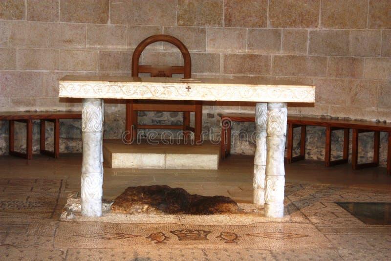 Pedra sagrado em Tabgha fotografia de stock royalty free