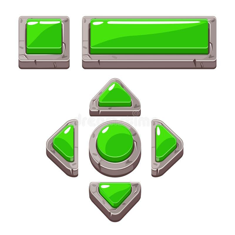 A pedra verde dos desenhos animados abotoa-se para o jogo ou o design web ilustração do vetor