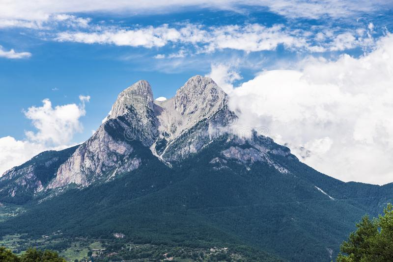 Pedraforca风景在加泰罗尼亚,西班牙 图库摄影