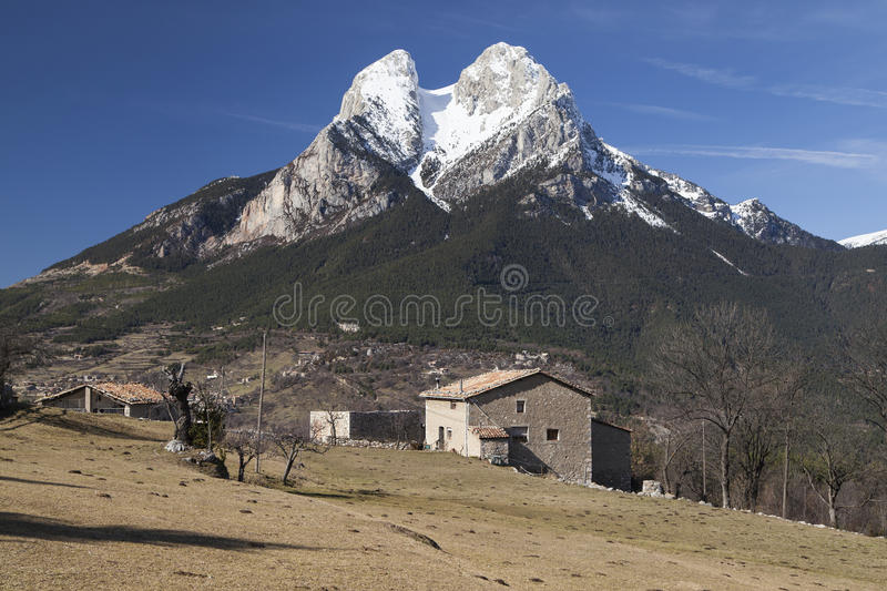 The Pedraforca in Winter stock photography
