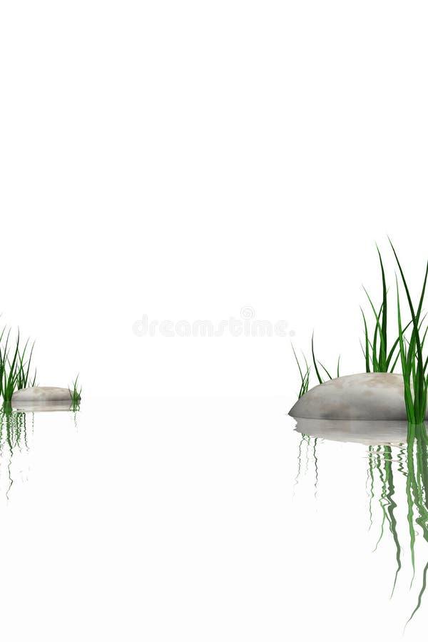 Pedras & grama na borda das águas ilustração royalty free